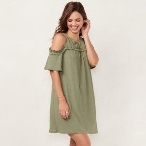 Lauren Conrad Green Ruffled Cold Shoulder Dress S